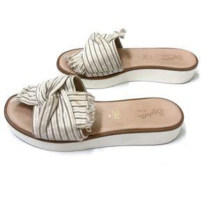 SEYCHELLES • Tan and White Slip on Sandals